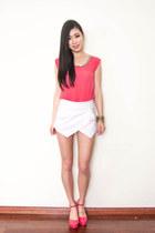 white Sheinside skirt - salmon sequin Taobao top
