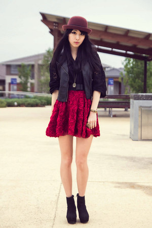maroon Ash Lapin skirt - black leather Ash Lapin vest - black Ash Lapin blouse