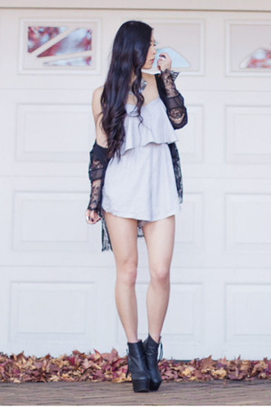 black cielo Nasty Gal boots - black lace kimono Light in the box cardigan