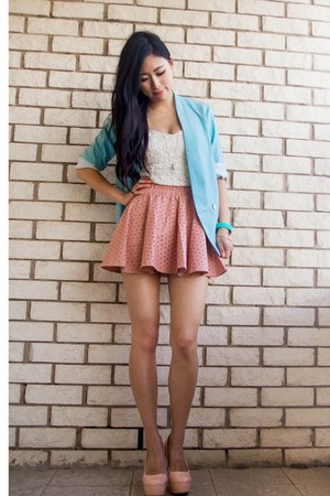 bubble gum awwdore skirt - sky blue lookbookstore blazer