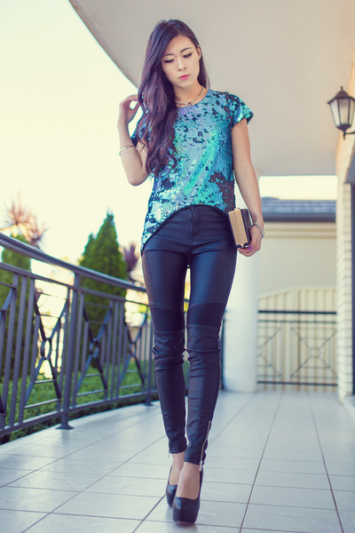 turquoise blue ELLIATT top - black pu ribbed bardot jeans