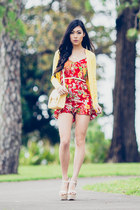 red sweetheart Junk Clothing romper - light yellow scalloped asos bag