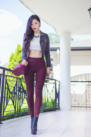 brick red OASAP bag - brick red high waisted gmarket pants