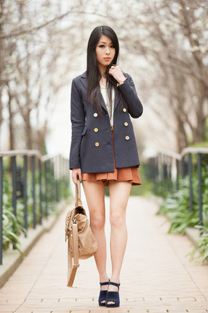 navy gmarket blazer - navy Sportsgirl shoes - camel Forever New bag