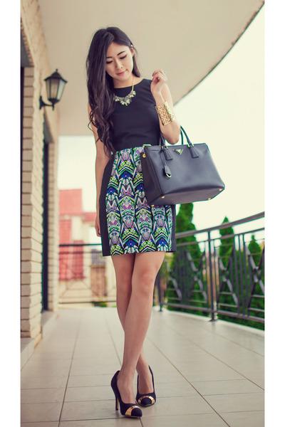 black gold cap portmans shoes - turquoise blue Blake & Co dress