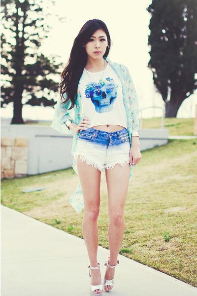 teal skulls awwdore top - blue dip dye Tobicom shorts