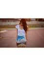 White-flutter-sleeve-bardot-top-sky-blue-sky-printed-coiius-skirt