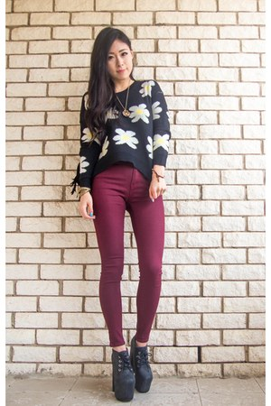black daisy PERSUNMALL sweater - dark gray Jeffrey Campbell boots