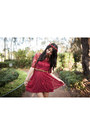 Red-lace-lookbookstore-dress-maroon-floral-crown-urban-outfitters-accessories