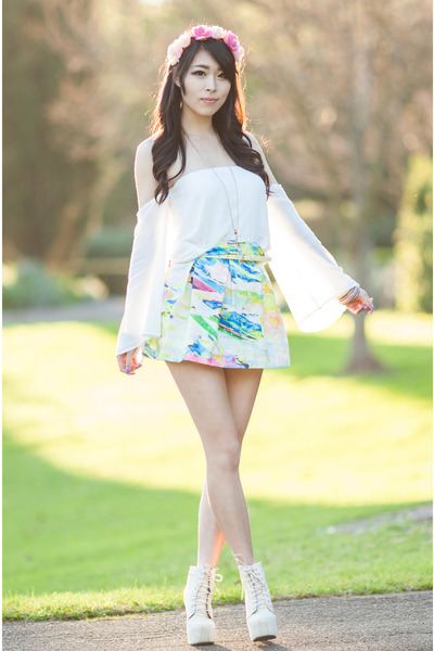sky blue Style Keepers skirt - white off shoulder Tobicom top
