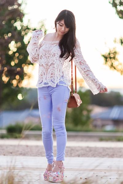 cream crochet Chicwish top - brown asos bag