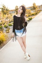 fringed Missguided bodysuit - ombre Tobicom shorts