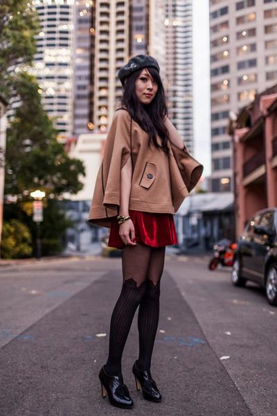 cape wish coat - velvet Taobao dress - beret Forever New hat