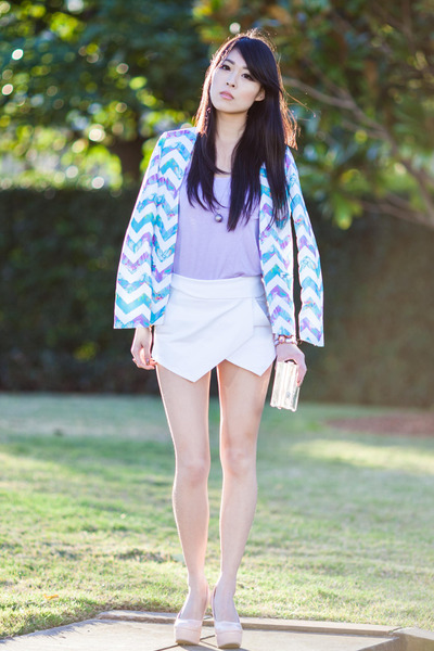 sky blue sabo skirt blazer - white skort Sheinside shorts