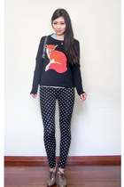brick red fox Jay Jays sweater - black polka dot Forever 21 pants