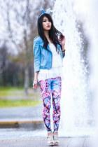 sky blue zip Sportsgirl jacket - hot pink Bam Bam leggings