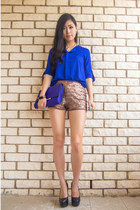 blue OASAP bag - bronze sequin mika and gala shorts - blue OASAP blouse