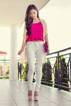 cream draped lookbookstore jacket - hot pink pleated cropped Carrislabelle top