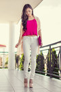 Cream-draped-lookbookstore-jacket-hot-pink-pleated-cropped-carrislabelle-top