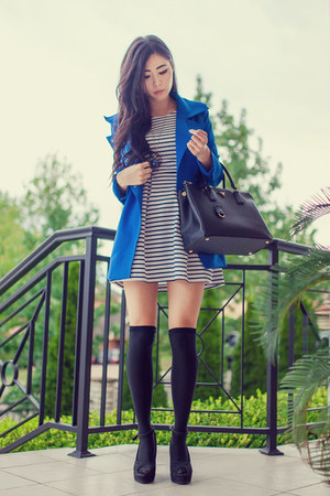 blue lookbookstore jacket - white striped Forever 21 dress - black Prada bag