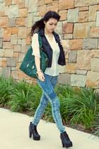 green zipia bag - black leather Ash Lapin vest