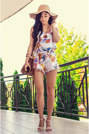 white floral frill Bayla Boutique romper - off white strappy go jane shoes