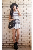 black Sportsgirl hat - black Nasty Gal boots - white striped Rose Gal dress