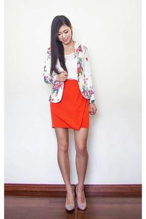 white floral Ebay blazer - carrot orange wrap Forever 21 skirt