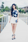 Blue-clutch-forever-new-bag-white-trumpet-vain-glorious-you-skirt