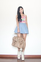 light pink pastel The Stage Walk top - light brown satchel Forever New bag