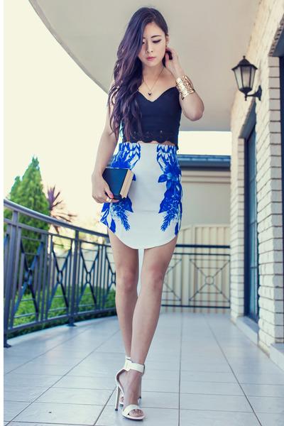 blue Blushop skirt - black bustier Style Addict top - white GoJane heels
