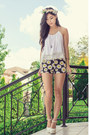 Yellow-daisy-motel-rocks-shorts-white-lovely-shoes-heels
