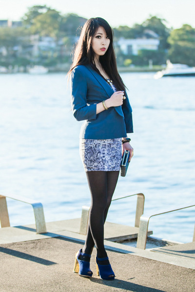 navy gold heel Sportsgirl shoes - navy snakeskin SUPRÉ dress - navy SUPRÉ blazer