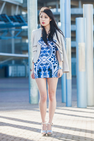 off white leather Saba jacket - blue Motel Rocks dress
