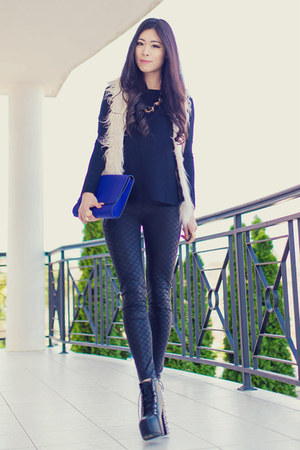 black black scale BKRM leggings - blue clutch OASAP bag - ivory shaggy wish vest