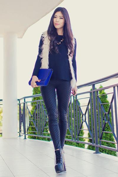 black black scale BKRM leggings - blue clutch OASAP bag - ivory shaggy wish vest