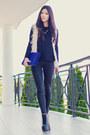 Black-black-scale-bkrm-leggings-blue-clutch-oasap-bag-ivory-shaggy-wish-vest