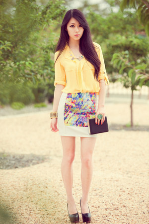 white Choies skirt - yellow Chaceylove blouse