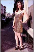 gold sequined mini free people dress - black platforms Jessica Simpson heels
