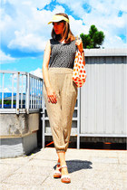 dark khaki H&M pants - light yellow no name hat - carrot orange no name bag
