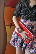 black vintage blouse - pink H&M skirt - red from Ebay purse