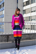 blue H&M dress - black Catwalk boots - magenta Dorothy Perkins jacket