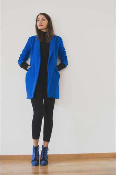 blue asos coat - blue asos boots - black no name sweater