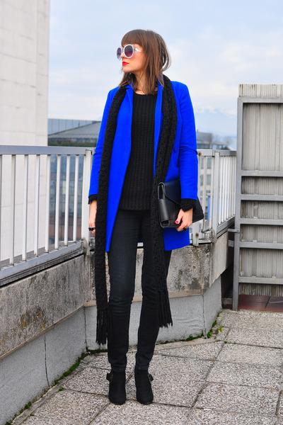 black Funky Shoes boots - blue asos coat - black H&M sweater - black H&M scarf