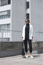 black no name bag - white Stradivarius blazer - black no name sunglasses