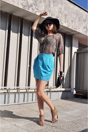 blue Matthew Williamson for H&M skirt - brown Orsay blouse - brown no name shoes