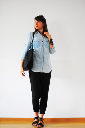 black no name bag - light blue Mango shirt - black H&M pants