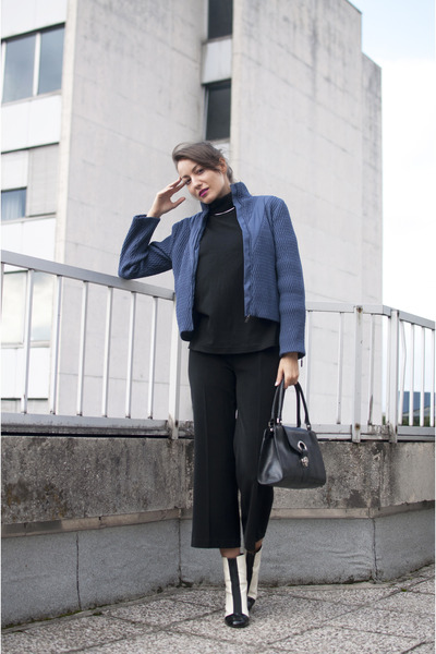 black Debenhams bag - white asos boots - blue Mango jacket - black no name top