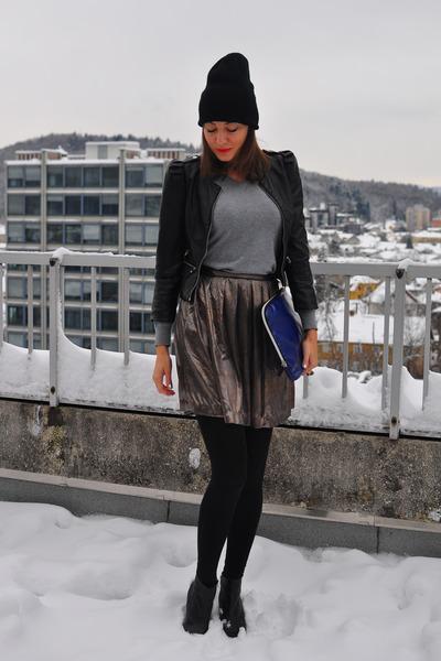 black H&M jacket - black vintage coat - black no name hat
