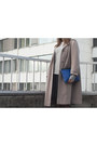 Tan-vintage-coat-heather-gray-topman-sweater-blue-zara-bag